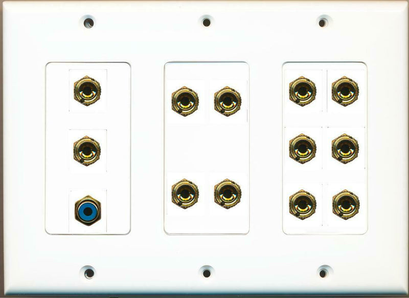 12 Banana Jack For 6 Speakers 1 RCA Blue 3 Gang Wall Plate White