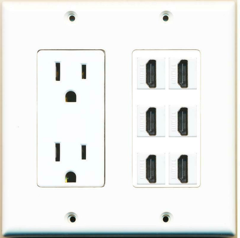 15 Amp Power Outlet 6 Port HDMI F/F Jack Wall Plate White