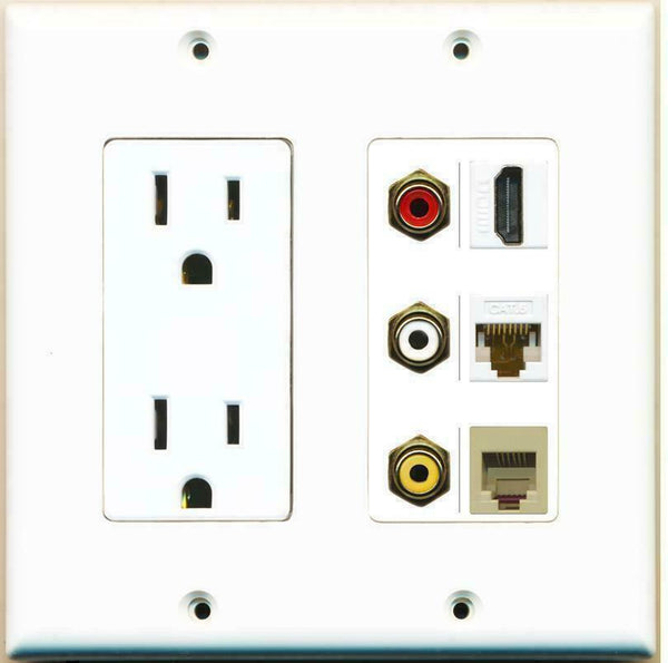 2 Gang 15A Duplex Power Outlet HDMI Cat6 Composite Video Phone Wall Plate
