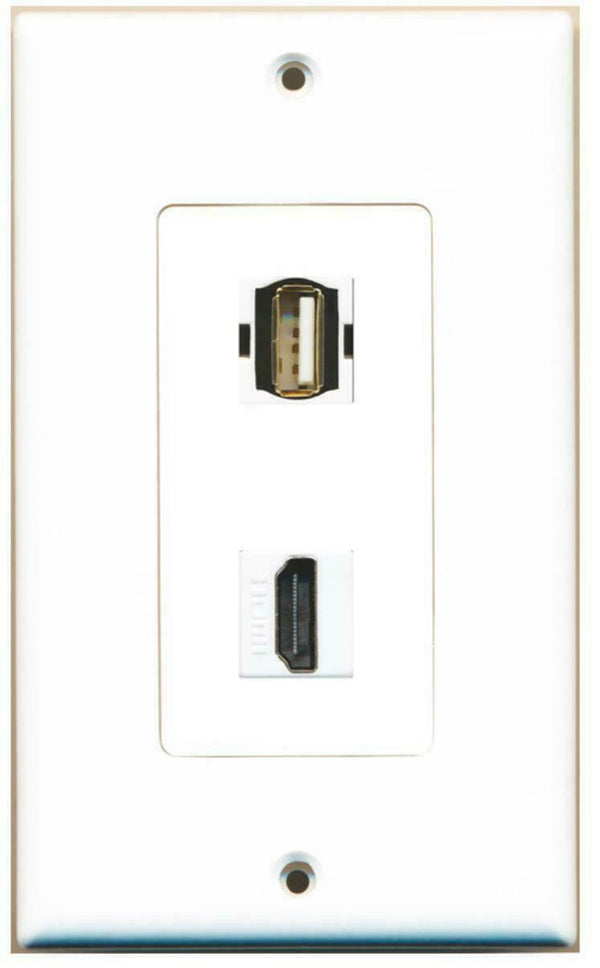 1 USB A/A and 1 HDMI Port Wall Plate Decorative White