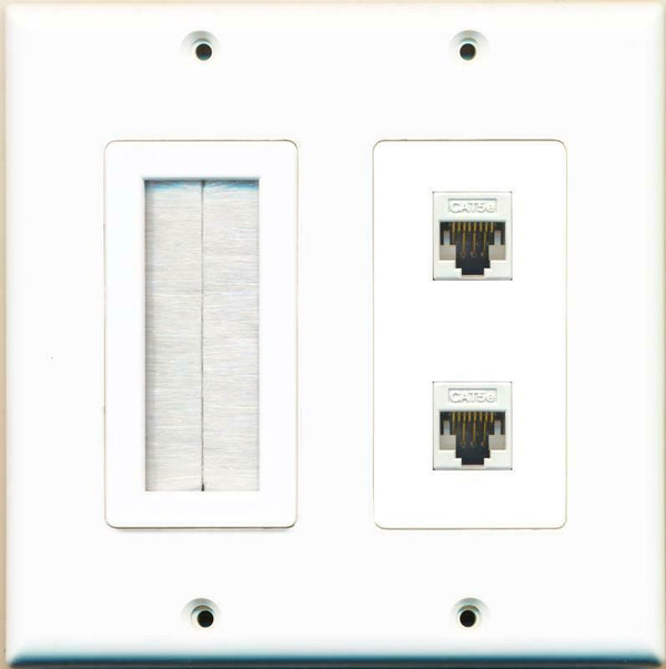 Brush and 2 x Cat5e Ethernet Jacks Wall Plate White