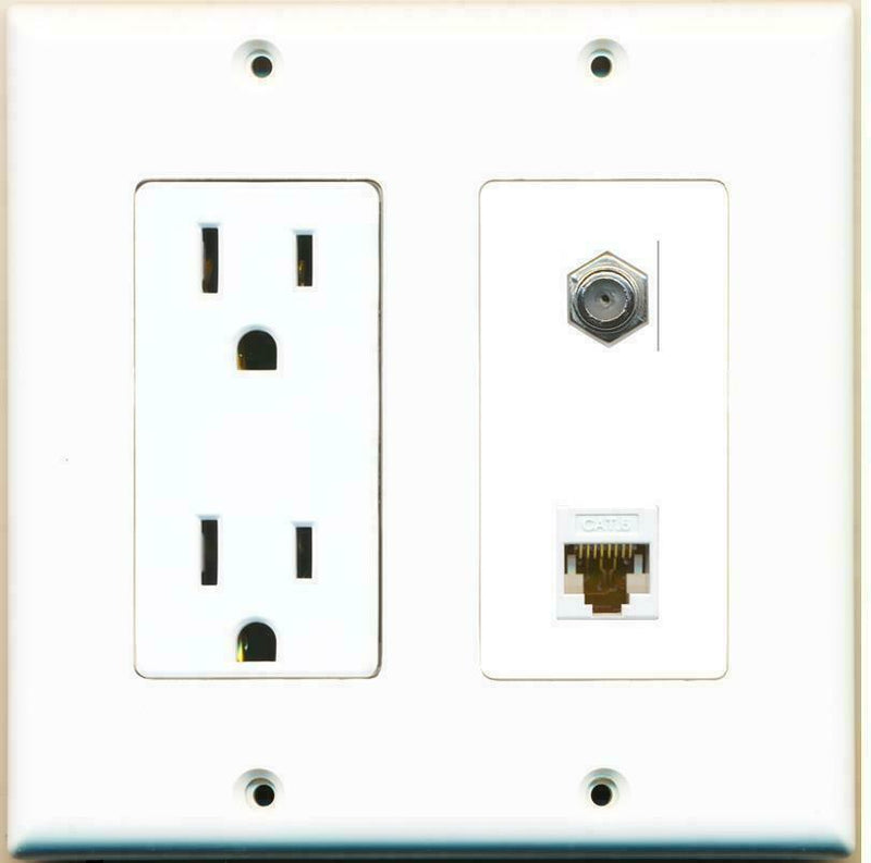 2 Gang 15 Amp Duplex Power Outlet Coaxial Cable Cat6 Coupler Wall Plate
