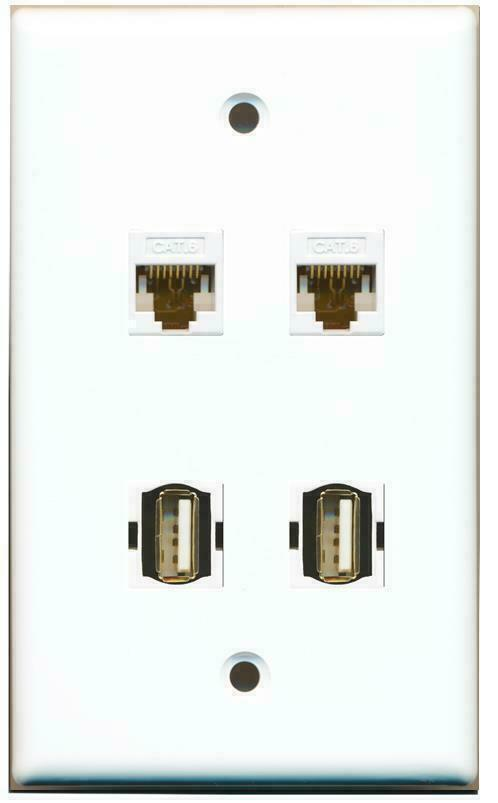 1 Gang Flat 2 Cat6 2 USB Coupler Jack Port Wall Plate White- Hide Cables Wires