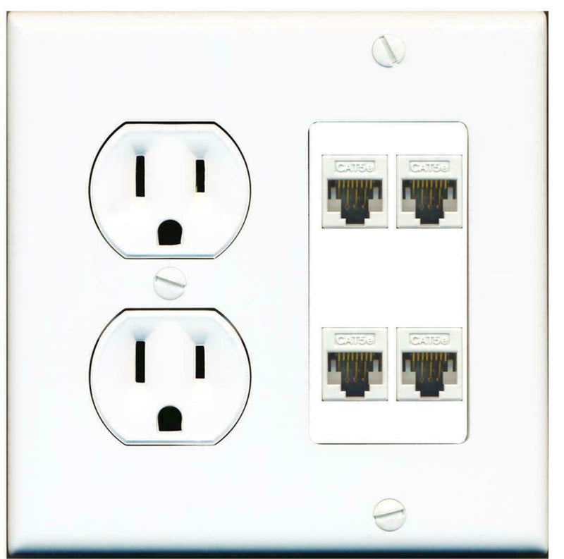 15 Amp Duplex Round Power Outlet 4 Port Cat5e Ethernet Wall Plate White