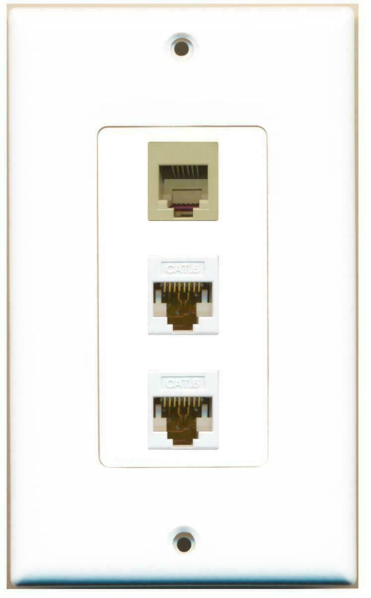 1 Port Phone RJ11 RJ12 Beige 2 Port Cat6 Ethernet Decorative Wall Plate
