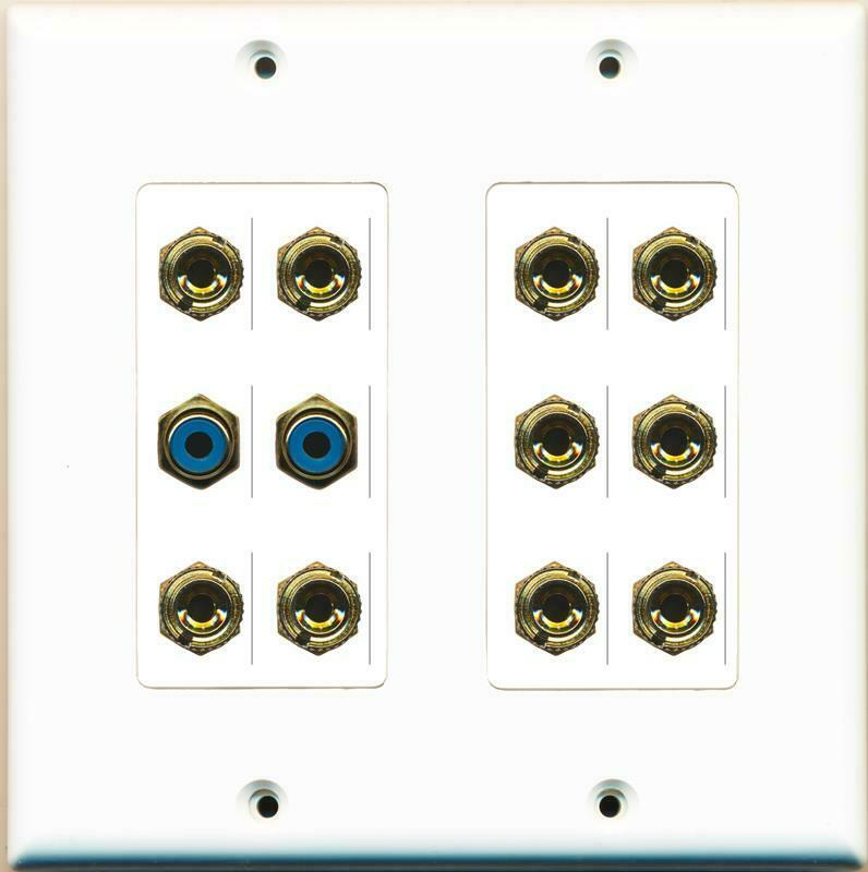 10 Port Banana 2 RCA Blue Wall Plate White Decorative