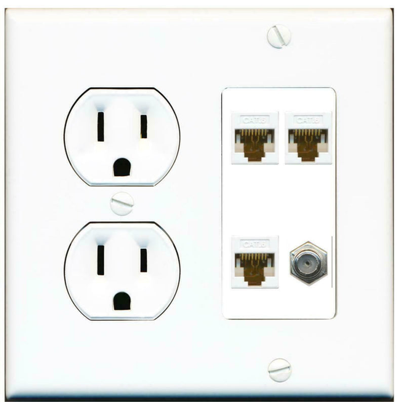 15 Amp Round Power Outlet 3 Port Cat6 Ethernet 1 Coax Cable TV Wall Plate