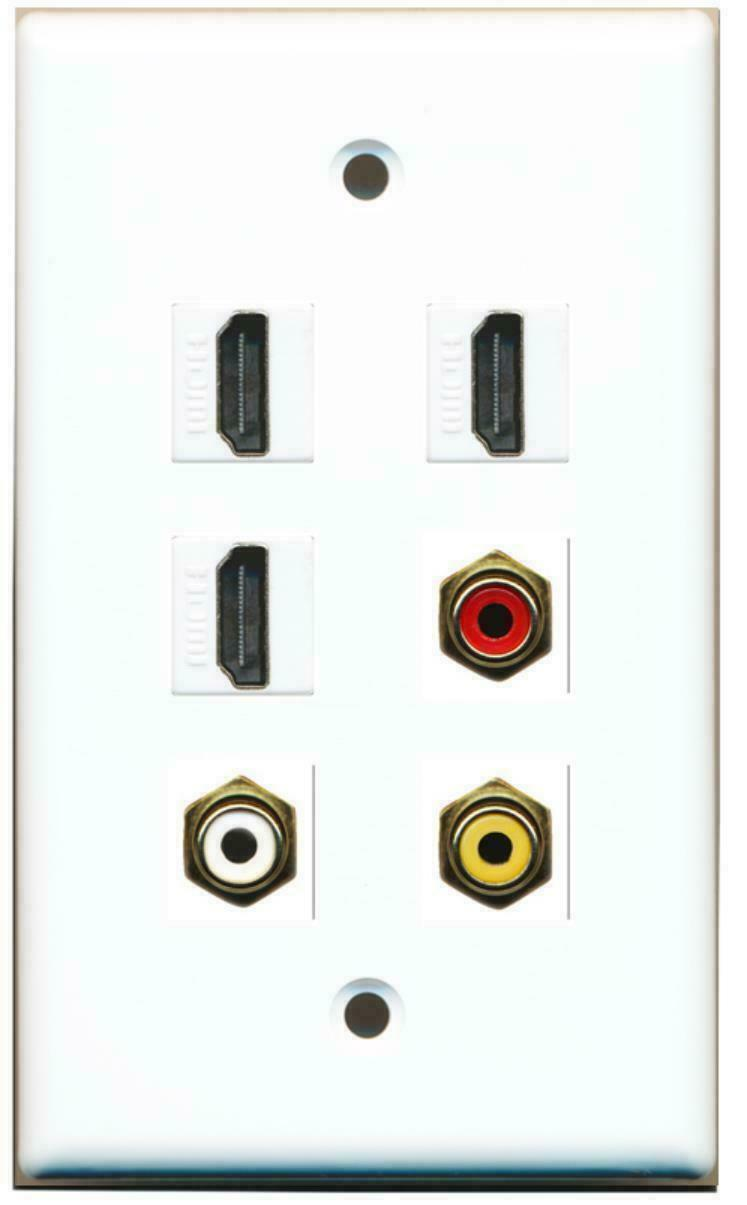 3 HDMI 1 Port RCA Red 1 Port RCA White 1 Port RCA Yellow Wall Plate