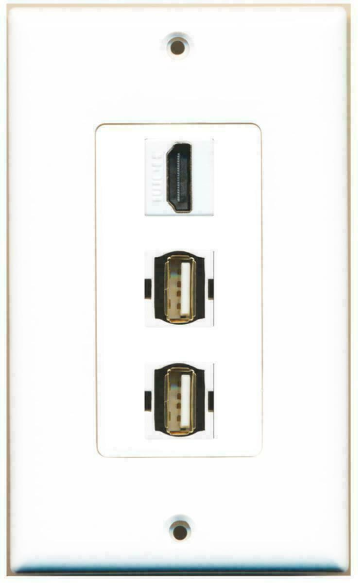 1 Port HDMI 2 Port USB A-A Decorative Wall Plate
