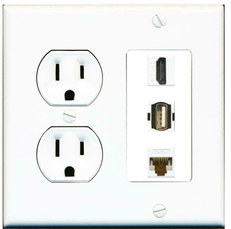 15 Amp Round Power Outlet 1 Port HDMI 1 USB A-A 1 Cat6 Ethernet Wall Plate