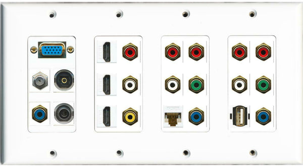SVGA Coax Toslink 3.5mm 14 RCA 3 HDMI Cat6 USB A-A Wall Plate White