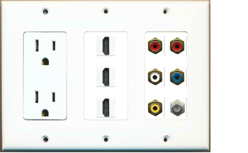 15A Power Outlet 3 HDMI RCA 2-Red 1-White/Yellow/Blue Coax Wall Plate