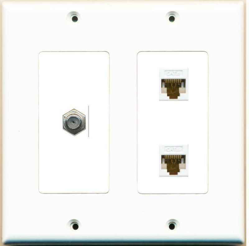2 Gang Decorative Coax 2 Cat6 White Wall Plate White