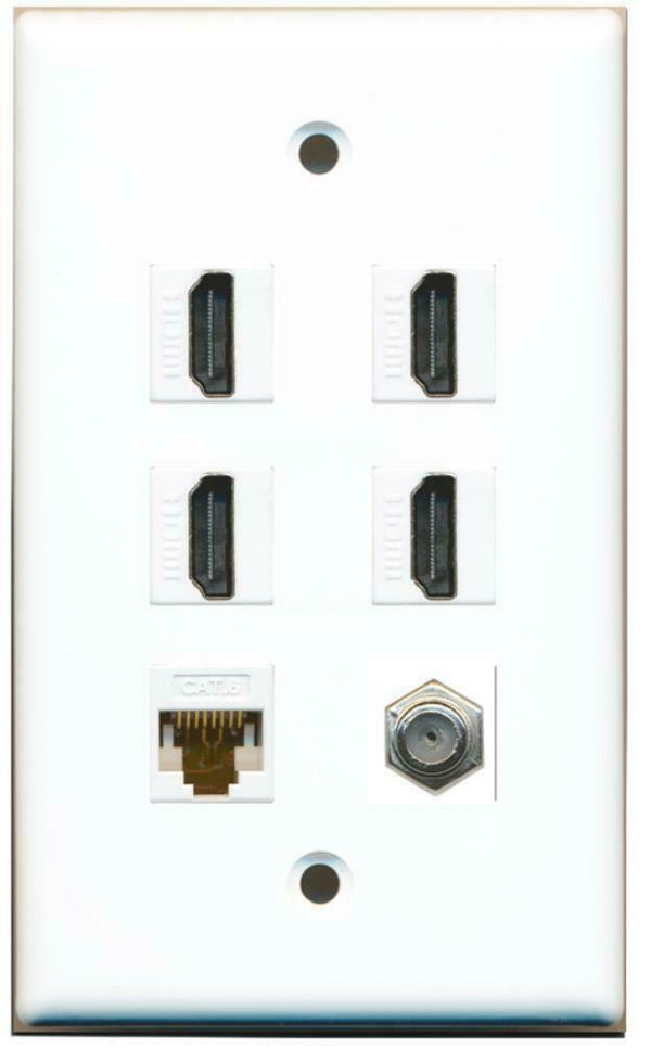 1 Gang Flat 4 HDMI Coax Cat6 White Wall Plate White