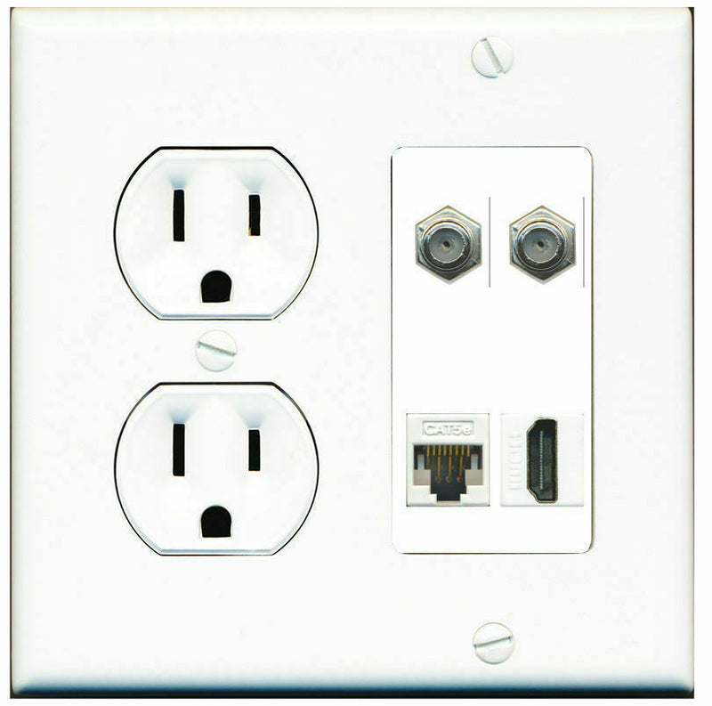 2 Gang Decorative 15 Amp  Round Power Outlet HDMI 2 Coax Cat5e Wall Plate