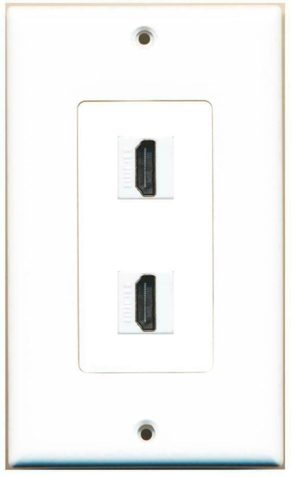 2 Port HDMI 2.0 Keystone Wall Plate Decorative White