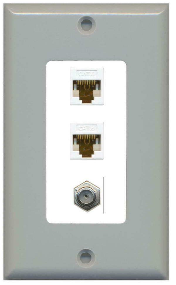 1 Gang Decorative Coax 2 Cat6 White Wall Plate Gray on White