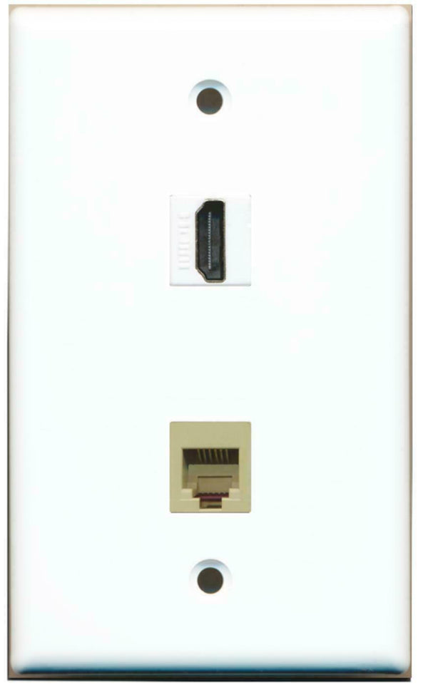 RJ11-12 Phone Jack and 1 HDMI Port Flat Wall Plate White