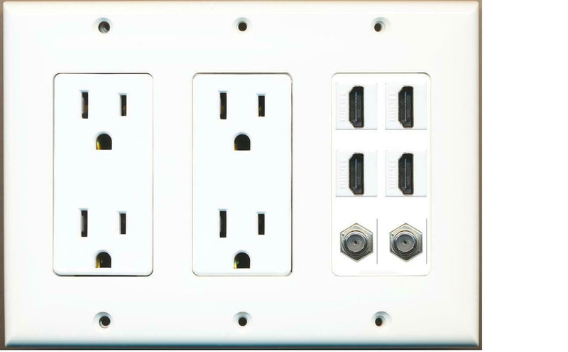 2 15A Power Outlets 4 HDMI and 2 Coax Wall Plate White