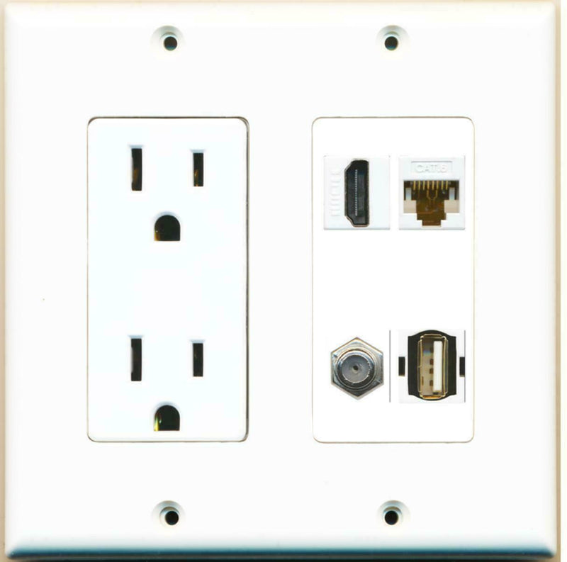 2 Gang 15A Duplex Power Outlet HDMI Coax Cable Cat6 LAN USB Wall Plate
