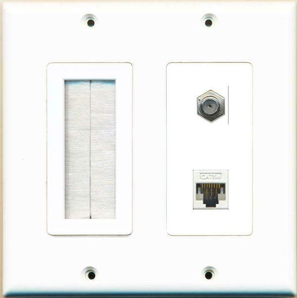 Brush and Coax Cat5e Ethernet Wall Plate White