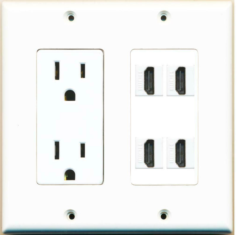 2 Gang Decorative 15A Power Outlet 4 HDMI Wall Plate White