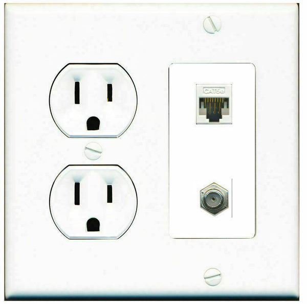 2 Gang Decorative 15 Amp  Round Power Outlet Coax Cat5e Wall Plate White