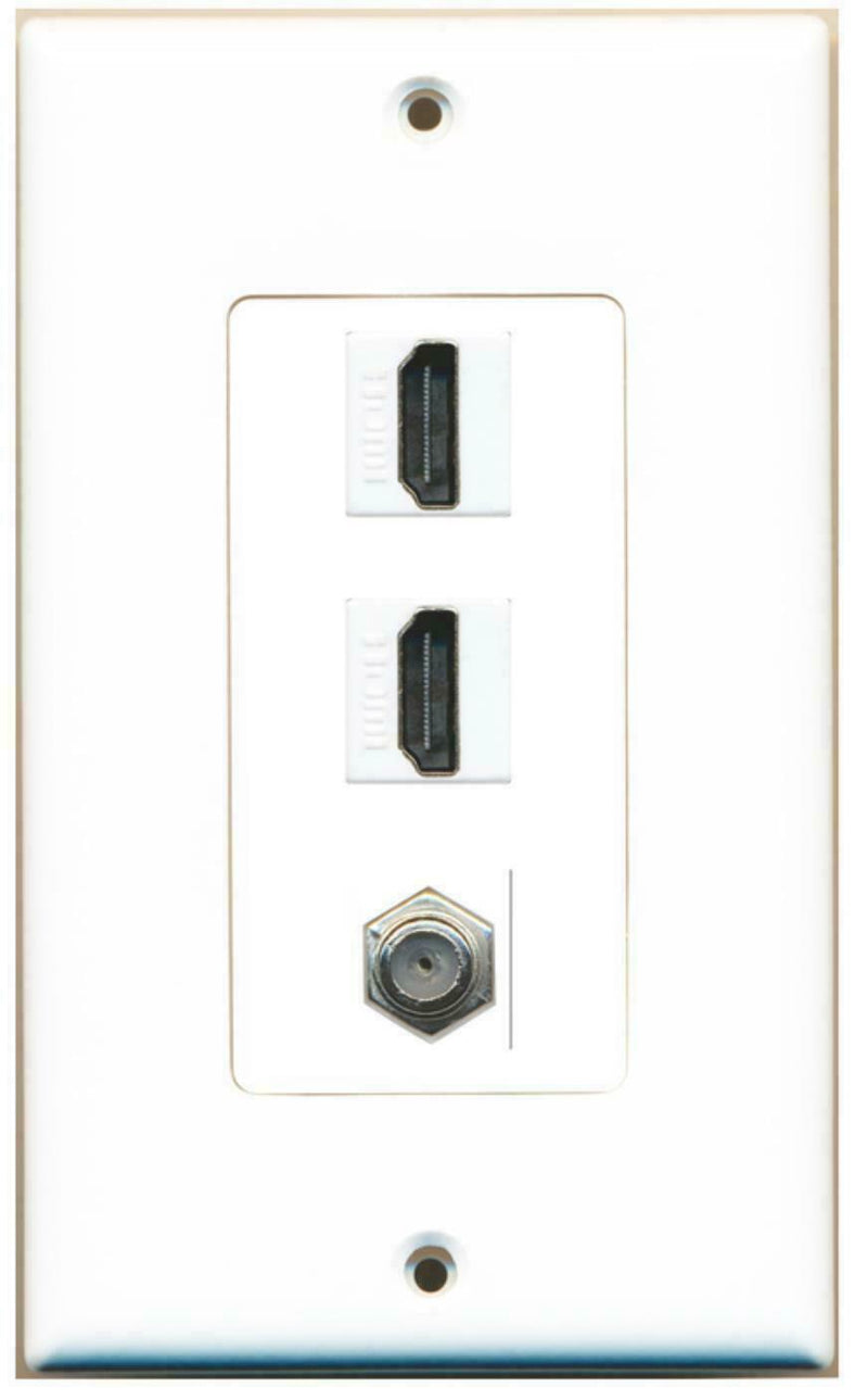 1 Gang Decorative 2 HDMI Coax Wall Plate White