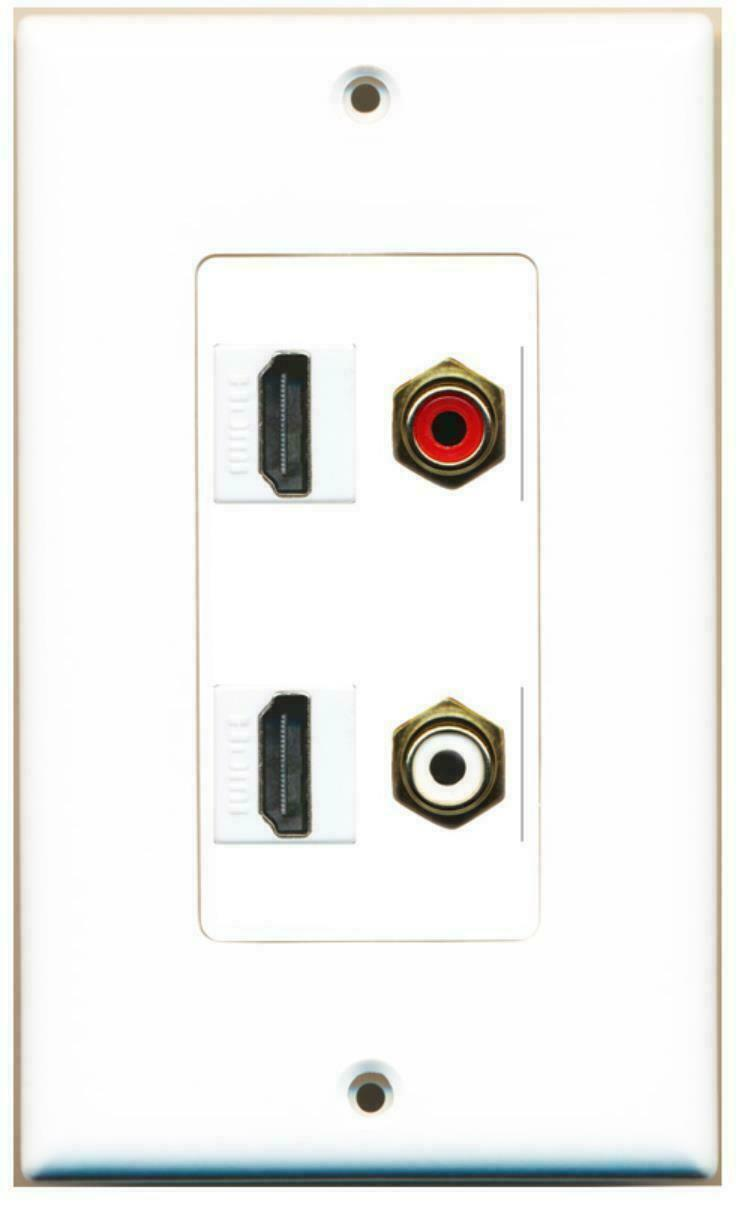 2 Port HDMI 1 Port RCA Red / White Audio Video Wall Plate