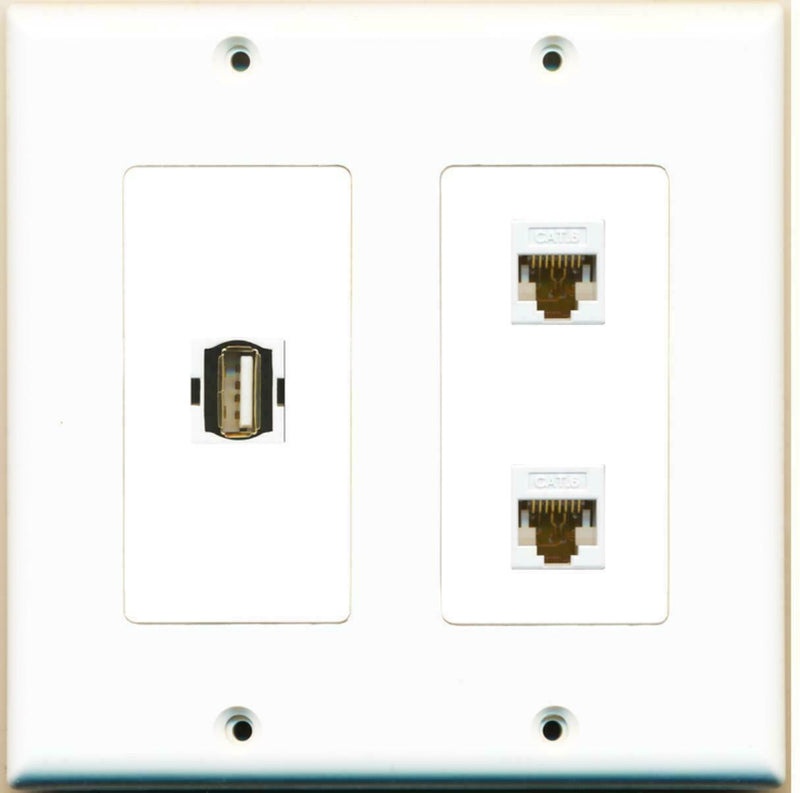 2 Gang Decorative USB A-A 2 Cat6 White Wall Plate White