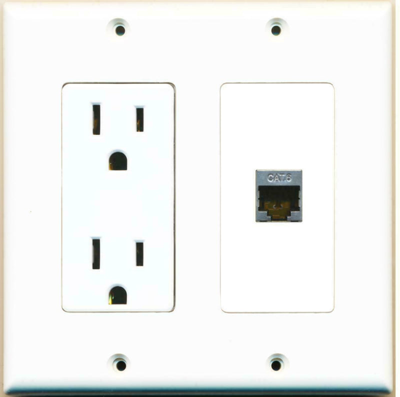 15 Amp Power Outlet and Shielded Cat6 Ethernet Decora Type Wall Plate White