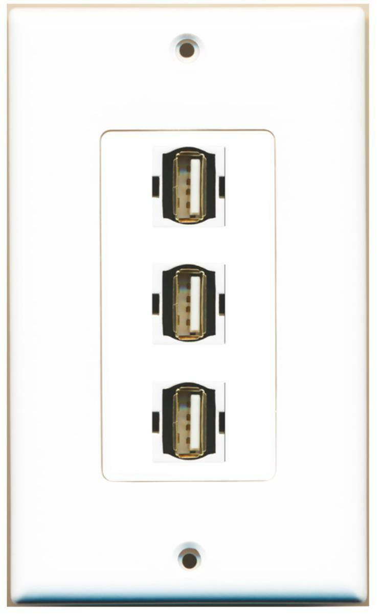 WPC - 3 Port Usb A-A Decorative Wall Plate White
