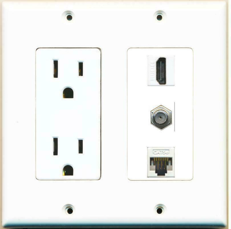 2 Gang 15 Amp Duplex Power Outlet HDMI Coax Cable Cat5e Coupler Wall Plate