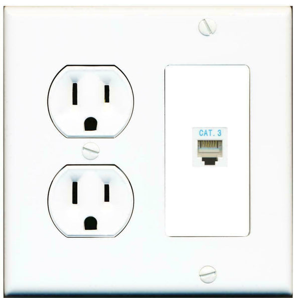 2 Gang 15 Amp Duplex Round Power Outlet Phone CAT3 Keystone Coupler Wall Plate