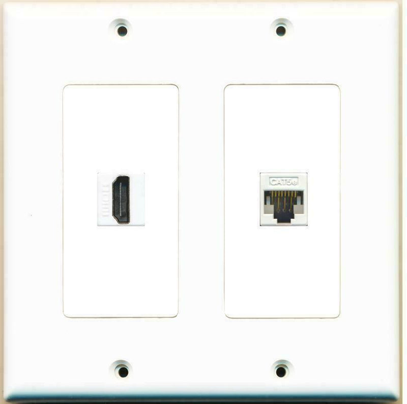 2 GANG DUAL GANG HDMI CAT5E WALL PLATE WHITE