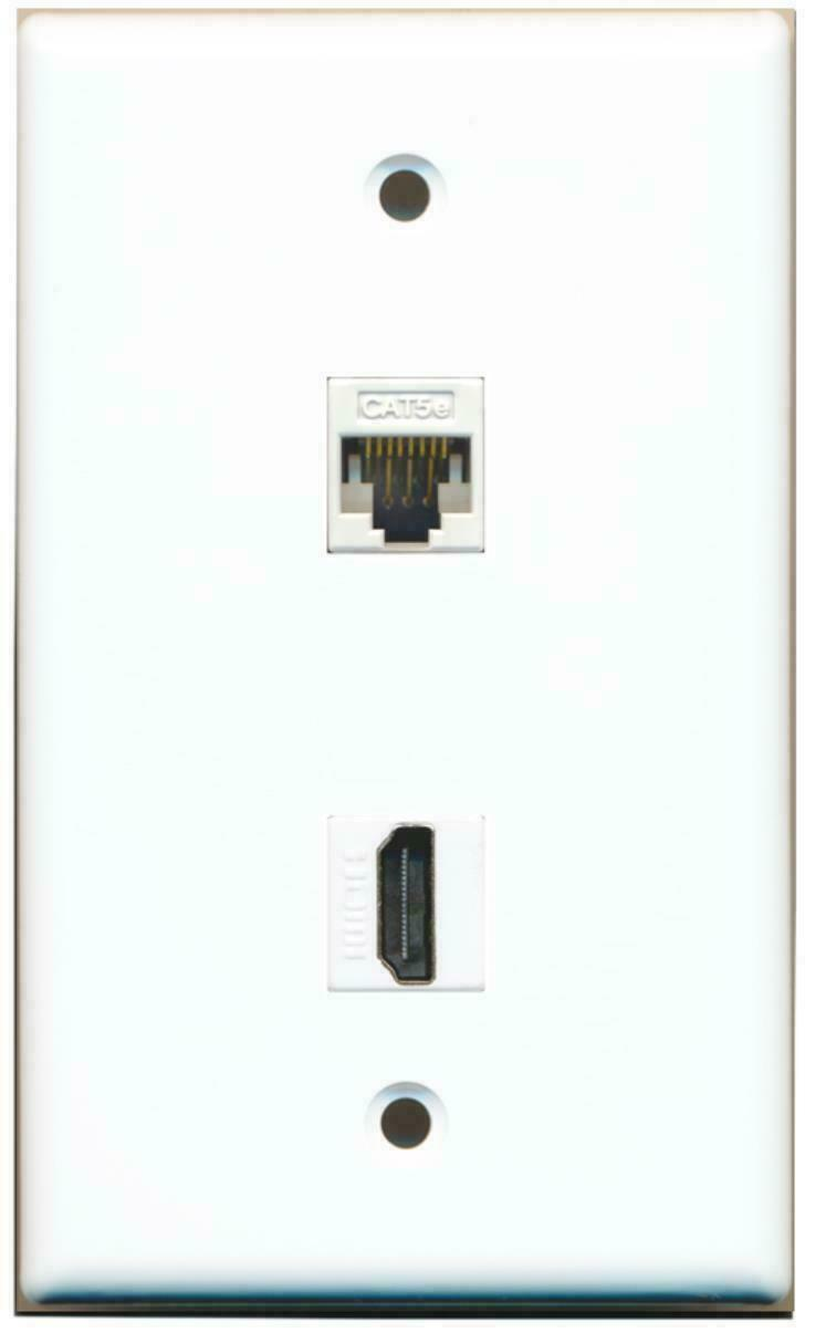 1 HDMI CAT5E ETHERNET Port WALL PLATE FLAT SOLID WHITE