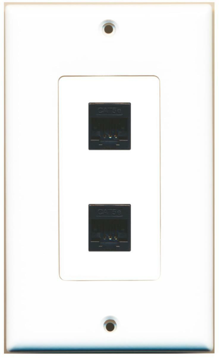 Wallplate City - 2 Port Cat5e Ethernet Black Wall Plate Decorative White