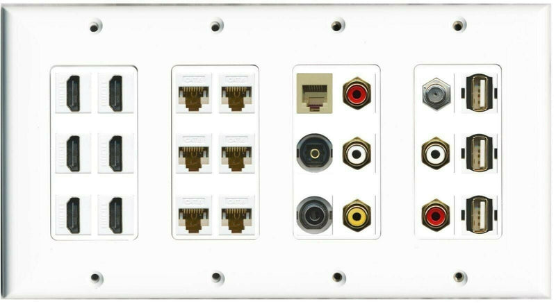 4 Gang 6 HDMI 6 Cat6 Coax Phone Toslink 5xRCA 3 USB A-A 3.5mm Wall Plate