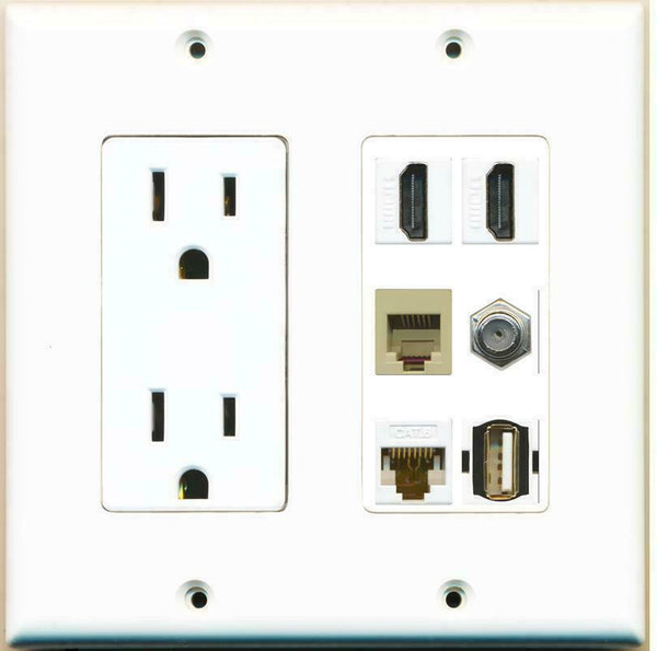 2 Gang 15A Duplex Power Outlet 2 HDMI Coax Cat6 Rj11 Phone USB Wall Plate