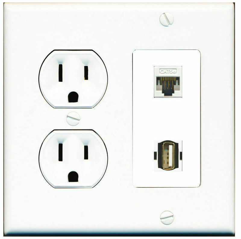2 Gang Decorative 15 Amp Round Power Outlet Cat5e USB A-A Wall Plate White
