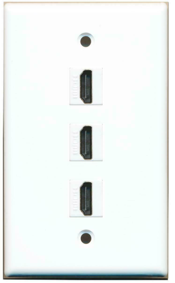 1 Gang Flat 3 HDMI 1.4 Wall Plate White