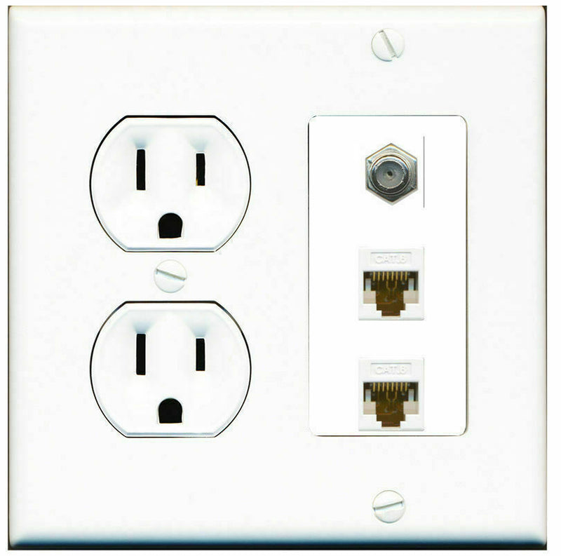 2 Gang Decorative 15 Amp Round Power Outlet Coax 2 Cat6 Wall Plate White