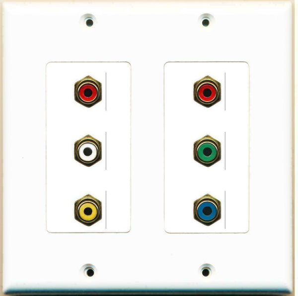 2 Gang Decorative Component + Composite Video RCA Wall Plate White