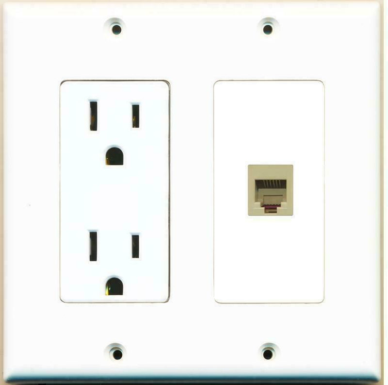 2 Gang 15 Amp Duplex Power Outlet Port Phone Wire Coupler Jack Wall Plate