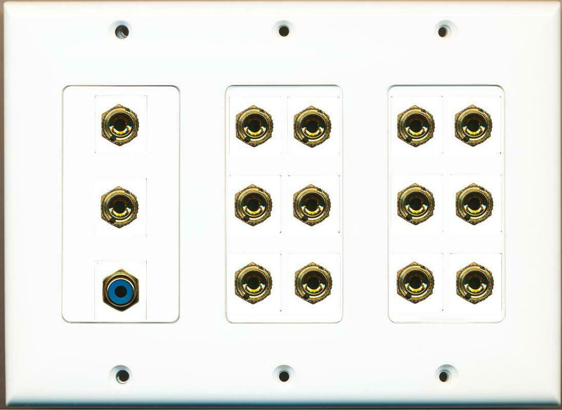 14 Banana for 7 Speakers - 1 RCA Blue 3 Gang Wall Plate White