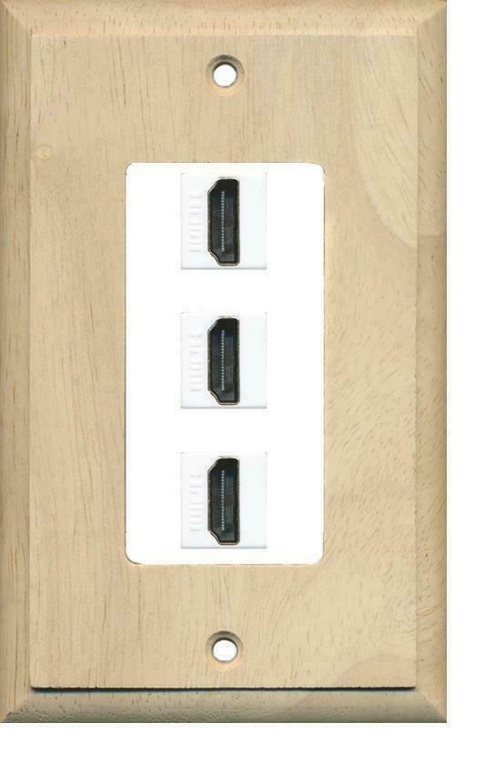 1 Gang Decorative 3 HDMI 1.4 Coupler Jack Port Wall Plate Wood - White Insert