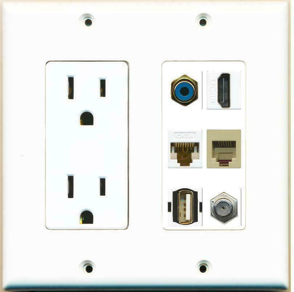 2 Gang 15A Power Outlet RCA HDMI CAT6 PHONE USB COAX Cable Coupler Wall Plate