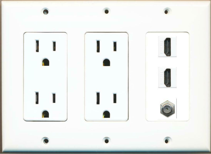 2 15A Power Outlets 2 HDMI and 1 Coax Wall Plate White