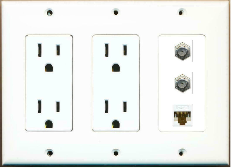 3 Gang Decorative 15 Amp  Power Outlet 2 Coax Cat6 Wall Plate White