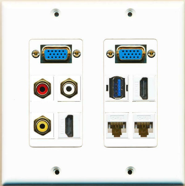 2 SVGA 3 RCA Red/White/Yellow 2 HDMI 2 Cat6 USB 3.0 Wall Plate